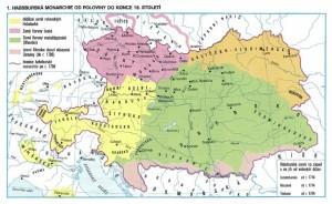 Atlas - Habsburská monarchie od poloviny do konce 18. stol. - mapa